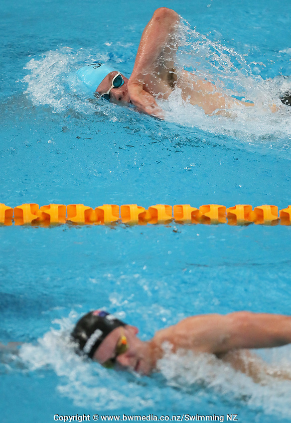 Quinton Hurley (top) and Zac Reid compete during the Men's 1500m Freestyle. New Zealand Short Course Swimming Championships, National Aquatic Centre, Auckland, New Zealand, Saturday 5th October 2019. Photo: Simon Watts/www.bwmedia.co.nz/SwimmingNZ