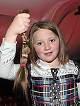 Erin Fitzpatrick donated her ponytail at the Hope For Zoe benefit night in Reilly's bar Ardee. Photo:Colin Bell/pressphotos.ie