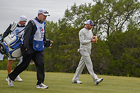 Sergio Garcia (ESP) eats a banana as he heads down 15 during Round 2 of the Valero Texas Open, AT&T Oaks Course, TPC San Antonio, San Antonio, Texas, USA. 4/20/2018.<br /> Picture: Golffile | Ken Murray<br /> <br /> <br /> All photo usage must carry mandatory copyright credit (© Golffile | Ken Murray)