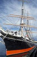 "tall ship, San Diego, California, CA, 1863 """"Star of India"""" a three-mast merchant ship docked at the Maritime Museum of San Diego in San Diego Harbor."