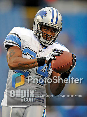 28 August 2008:  Detroit Lions' safety Greg Blue warms up prior to a game against the Buffalo Bills at Ralph Wilson Stadium in Orchard Park, NY. The Lions defeated the Bills 14-6 in their fourth and final pre-season game...Mandatory Photo Credit: Ed Wolfstein Photo