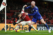 29th January 2019, Emirates Stadium, London, England; EPL Premier League Football, Arsenal versus Cardiff City; Lucas Torreira of Arsenal shields the ball from Aron Gunnarsson of Cardiff City
