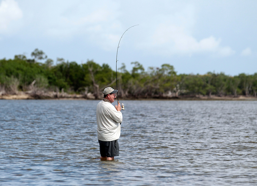 Steve Scalish reels in a nice sized snook in Florida's Everglades National Park out of Chokoloskee Island and the 10,000 Islands National Wildlife Refuge. Photo/Andrew Shurtleff