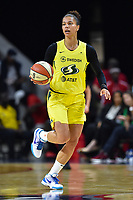 Washington, DC - June 14, 2019: Seattle Storm forward Alysha Clark (32) brings the ball up court during game between Seattle Storm and Washington Mystics at the St. Elizabeths East Entertainment and Sports Arena in Washington, DC. The Storm hold on to defeat the Mystics 74-71. (Photo by Phil Peters/Media Images International)