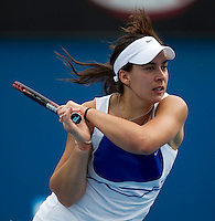 Marion Bartoli (FRA) (11) against  Jie Zheng (CHN) in the third round of the Womens Singles. Zheng beat Bartoli 6-7 6-3 6-0 ..International Tennis - Australian Open Tennis - Fri 22 Jan 2010 - Melbourne Park - Melbourne - Australia ..© Frey - AMN Images, 1st Floor, Barry House, 20-22 Worple Road, London, SW19 4DH.Tel - +44 20 8947 0100.mfrey@advantagemedianet.com