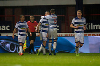 1st November 2019; Dens Park, Dundee, Scotland; Scottish Championship Football, Dundee Football Club versus Greenock Morton; Cameron Salkeld of Greenock Morton is congratulated after scoring for 1-1 in the 63rd minute by Robbie Muirhead - Editorial Use