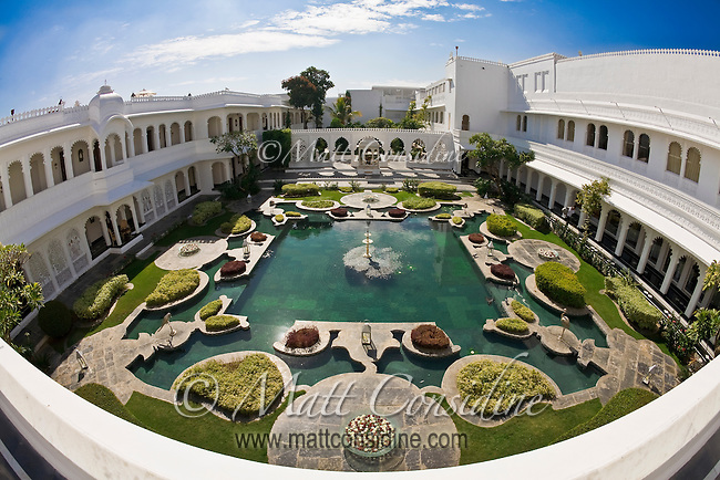 View of the gardens on the inside of the Taj Lake Palace, India.<br /> (Photo by Matt Considine - Images of Asia Collection)