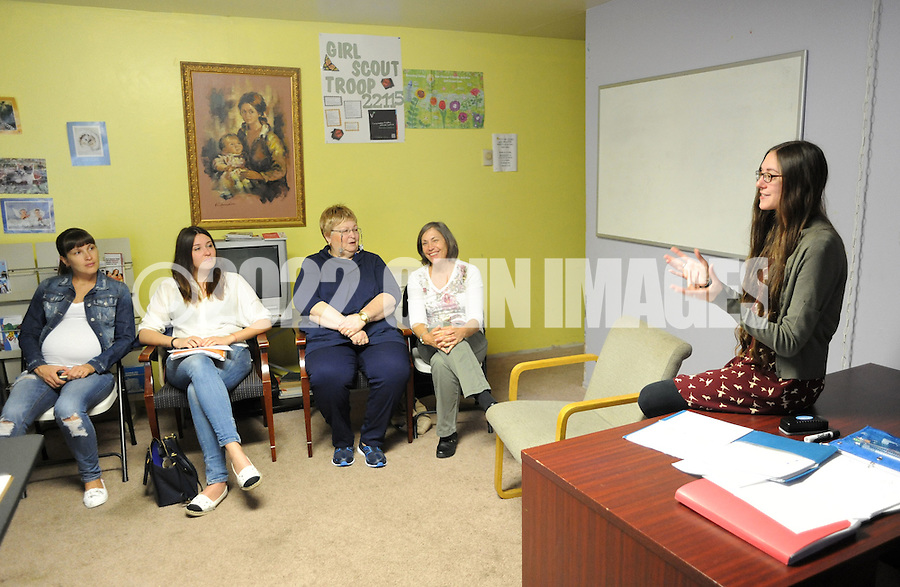 Meg Eubanks, executive director speaks with the group during a Welcoming The Stranger english as a second language class Thursday October 8, 2015 in Warminster, Pennsylvania. (Photo by William Thomas Cain)