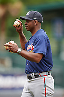 Mississippi Braves manager Aaron Holbert (13) during practice before a game against the Mobile BayBears on April 28, 2015 at Hank Aaron Stadium in Mobile, Alabama.  The game was suspended after the top of the second inning with Mobile leading 3-0, the BayBears went on to defeat the Braves 6-1 the following day.  (Mike Janes/Four Seam Images)