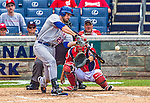 26 July 2013: New York Mets first baseman Ike Davis connects for a 3-run homer in the 9th inning against the Washington Nationals at Nationals Park in Washington, DC. The Mets shut out the Nationals 11-0 in the first game of their day/night doubleheader. Mandatory Credit: Ed Wolfstein Photo *** RAW (NEF) Image File Available ***