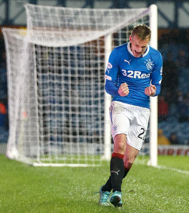 Dean Shiels celebrates his goal for Rangers