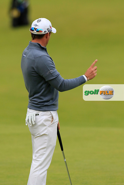 Danny WILLETT (ENG) misses his birdie putt on the 18th green during Sunday's Round 3 of the 144th Open Championship, St Andrews Old Course, St Andrews, Fife, Scotland. 19/07/2015.<br /> Picture Eoin Clarke, www.golffile.ie