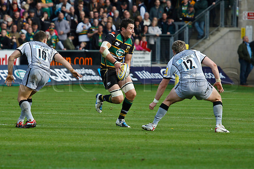 30.10.2010 Aviva Premiership Rugby Northampton Saints v Newcastle Falcons.  Northampton's James Downey on the ball.