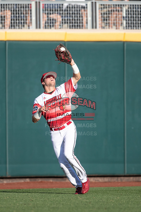 Louisville Cardinals outfielder Jake Snider (20) makes a catch during Game 10 of the NCAA College World Series against the Mississippi State Bulldogs on June 20, 2019 at TD Ameritrade Park in Omaha, Nebraska. Louisville defeated Mississippi State 4-3. (Andrew Woolley/Four Seam Images)