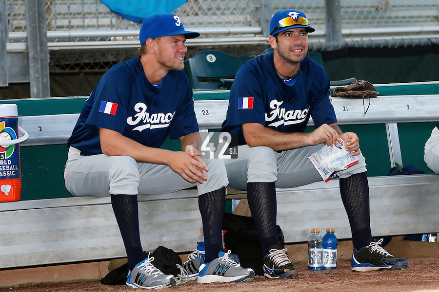 20 September 2012: Owen Ozanich and Pierrick Le Mestre are seen prior to Spain 8-0 win over France, at the 2012 World Baseball Classic Qualifier round, in Jupiter, Florida, USA.