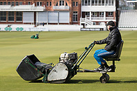 Trimming the outfield at Lords Cricket Ground during Middlesex CCC vs Lancashire CCC, Specsavers County Championship Division 2 Cricket at Lord's Cricket Ground on 11th April 2019