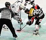 15.10.2010, Eisstadion, Heilbronn, GER, 2.Liga Eishockey, Heilbronner Falken vs Starbulls Rosenheim, im Bild WERNER Stephen (Starbulls #14) und Luigi Calce  (Falken #39) beim Bully, Foto © nph / Roth