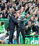 29.04.18 Celtic v Rangers: Brendan Rodgers and Graeme Murty at full time