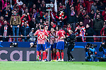 Atletico de Madrid Juanfran Torres, Jose Maria Gimenez, Angel Martin Correa, Saul Niguez and Thomas Teye celebrating a goal during group stage of UEFA Champions League match between Atletico de Madrid and Borussia Dortmund at Wanda Metropolitano in Madrid, Spain.November 06, 2018. (ALTERPHOTOS/Borja B.Hojas)
