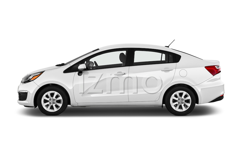 Car Driver side profile view of a 2016 KIA Rio LX-AT 4 Door Sedan Side View
