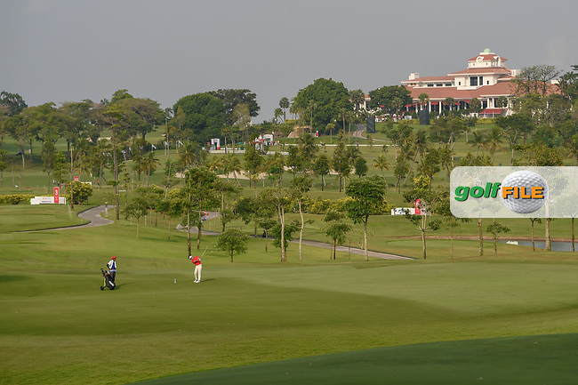 A wide shot of the fareway on 3 and clubhouse during Rd 1 of the Asia-Pacific Amateur Championship, Sentosa Golf Club, Singapore. 10/4/2018.<br /> Picture: Golffile | Ken Murray<br /> <br /> <br /> All photo usage must carry mandatory copyright credit (© Golffile | Ken Murray)