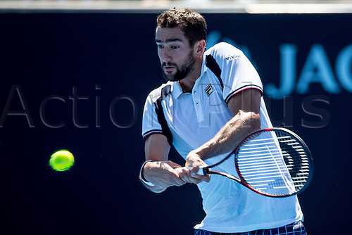January 16th 2017, Melbourne Park, Melbourne, Australia; Marin Cilic of Croatia returns the ball during the first round of the 2017 Australian Open