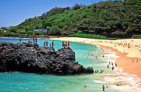 Sunny summer day at Waimea bay on Oahu's north shore
