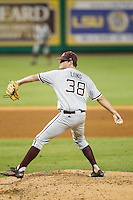 Texas A&M Aggies pitcher Grayson Long (38) delivers a pitch to the plate during a Southeastern Conference baseball game against the LSU Tigers on April 23, 2015 at Alex Box Stadium in Baton Rouge, Louisiana. LSU defeated Texas A&M 4-3. (Andrew Woolley/Four Seam Images)