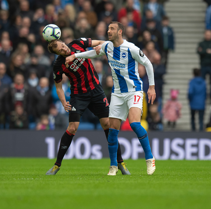 Brighton & Hove Albion's Glenn Murray (right) battles with Huddersfield Town's Jon Gorenc Stankovic (left) <br /> <br /> Photographer David Horton/CameraSport<br /> <br /> The Premier League - Brighton and Hove Albion v Huddersfield Town - Saturday 2nd March 2019 - The Amex Stadium - Brighton<br /> <br /> World Copyright © 2019 CameraSport. All rights reserved. 43 Linden Ave. Countesthorpe. Leicester. England. LE8 5PG - Tel: +44 (0) 116 277 4147 - admin@camerasport.com - www.camerasport.com