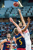 Real Madrid's player Anthony Randolph and FC Barcelona Lassa's players Stratos Perperoglou and Justin Doellman during the match of the semifinals of Supercopa of La Liga Endesa Madrid. September 23, Spain. 2016. (ALTERPHOTOS/BorjaB.Hojas)