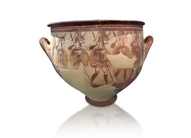 'House of Warriors Vase' : Pictoral Mycenaean Krater depicting Mycenaean soldiers in full armour, Mycenae Acropolis, 12th Cent BC.  National Archaeological Museum Athens. Cat no 1426. <br /> <br /> This large pictoral Mycenaean Krater depicts Mycenaean soldiers full armed with helmet, cuirass, greaves, shield and spaer as they depart for war. This is a superb example of Mycenaean pictoral pottery