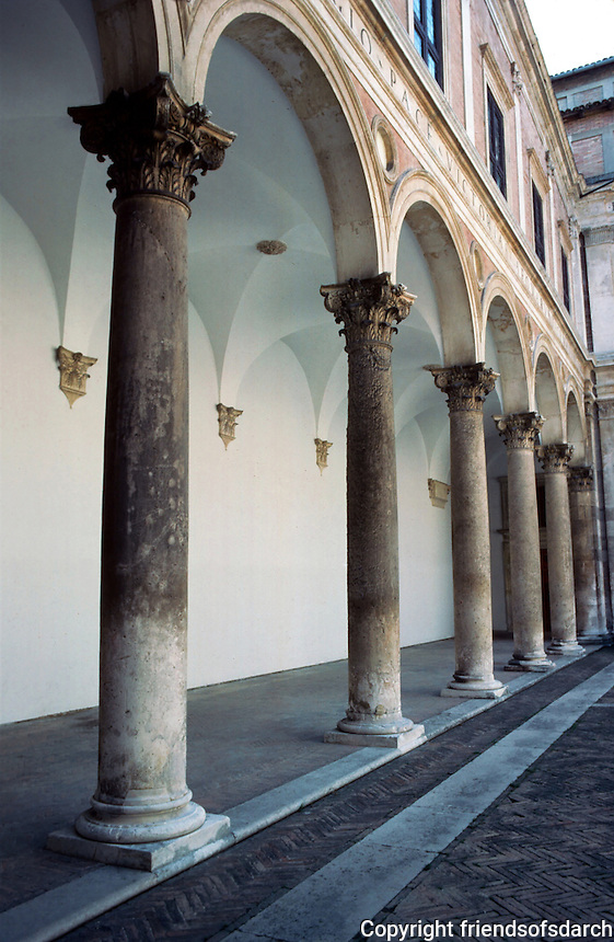 Urbino:  Ducal Palace--Court, Loggia.  Photo '83.