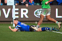 Ross Batty of Bath Rugby scores a try in the second half. Gallagher Premiership match, between Bath Rugby and Harlequins on March 2, 2019 at the Recreation Ground in Bath, England. Photo by: Patrick Khachfe / Onside Images