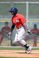 Boston Red Sox outfielder Brandon Jacobs #43 during a minor league Spring Training game against the Baltimore Orioles at Buck O'Neil Complex on March 25, 2013 in Sarasota, Florida.  (Mike Janes/Four Seam Images)
