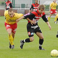 Racing Waregem - RFC Sérésien Seraing..Feys Matthias in duel met Delfabbro Carl..foto DAVID CATRY / VDB