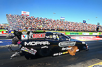 Sept. 21, 2013; Ennis, TX, USA: NHRA funny car driver Matt Hagan during qualifying for the Fall Nationals at the Texas Motorplex. Mandatory Credit: Mark J. Rebilas-