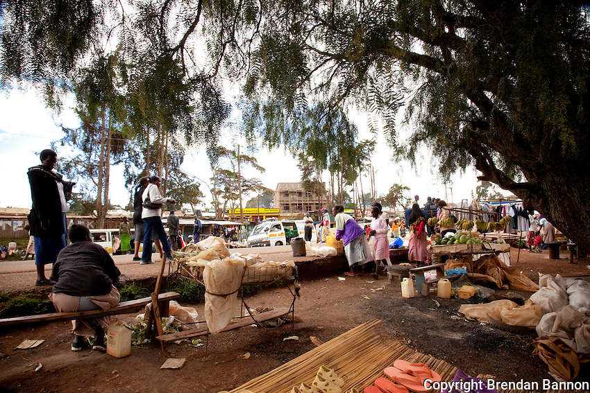 City market scene in  Iten, Kenya. The small city has been a training ground of athletic champions for years. Today the tradition continues despite a drop in sponsorship for international races.