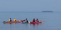 Kayacking Apostle Islands National Lakeshore at Meyer's Beach near Bayfield Wisconsion.
