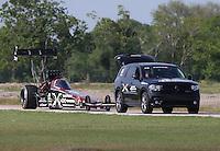 Apr. 26, 2013; Baytown, TX, USA: NHRA top fuel dragster driver Spencer Massey during qualifying for the Spring Nationals at Royal Purple Raceway. Mandatory Credit: Mark J. Rebilas-