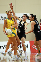 01.09.2010 Silver Ferns Anna Scarlett and Australian Catherien Cox in action during the Silver Ferns v Australia New World netball test match in Wellington. Mandatory Photo Credit ©Michael Bradley.