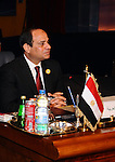 "Egyptian President Abdel Fattah al-Sisi attends the opening meeting of the Arab Summit in Sharm el-Sheikh, in the South Sinai governorate, south of Cairo, March 28, 2015. Sisi told an Arab League summit on Saturday that Cairo backed calls for a unified Arab force to confront regional security threats. Sisi also said Egypt's participation in a military campaign against Shi'ite Houthi militias in Yemen, which has been led by Saudi Arabia, aimed to ""preserve Yemen's unity and the peace of its territories."". APAIMAGES/Egyptian Presidency"