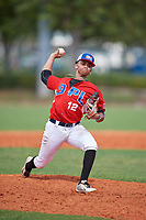 Jeremia Minaya (12) during the Dominican Prospect League Elite Florida Event at Pompano Beach Baseball Park on October 14, 2019 in Pompano beach, Florida.  Jeremia Minaya (12).  (Mike Janes/Four Seam Images)