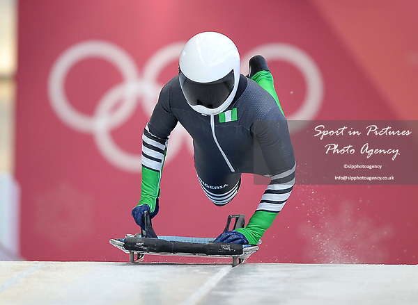 Simidele Adeagbo (NGR). Womens Skeleton training. Pyeongchang2018 winter Olympics. Olympic sliding centre. Alpensia. Pyeongchang. Republic of Korea. 07/02/2018. ~ MANDATORY CREDIT Garry Bowden/SIPPA - NO UNAUTHORISED USE - +44 7837 394578