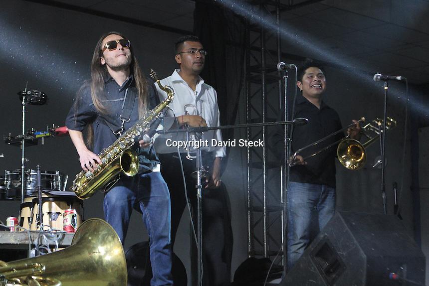 Irapuato, Guanajuato, 2 de Mayo 2015.-  Aspectos del &quot;Mega Festival Buena Vibra&quot; en Irapuato donde se presentaron grupos de trayectoria nacional del g&eacute;nero musical ska.<br /> <br /> En la gr&aacute;fica el grupo &quot;Los Estramb&oacute;ticos&quot;<br /> <br /> Foto: David Steck Obture
