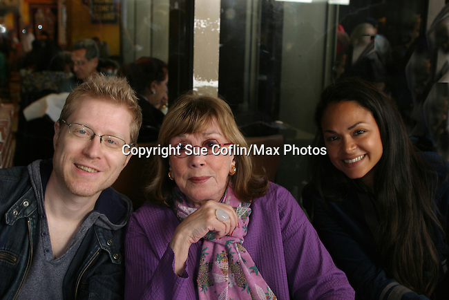 """Anthony Rapp & Phyllis Newman (OLTL """"Renee Devine Buchanan"""" #1 at The 26th Annual Broadway Flea Market and Grand Auction to benefit Broadway Cares/Equity Fights Aids on September 23, 2012 in Shubert Alley and Times Square, New York City, New York.  (Photo by Sue Coflin/Max Photos)"""