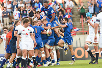 Team of France celebrates the Last Try during the Final World Championship U20 match between England and France on June 17, 2018 in Beziers, France. (Photo by Alexandre Dimou/Icon Sport)