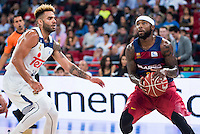 Real Madrid's player Jeffery Taylor and FC Barcelona Lassa's player Tyrese Rice during the match of the semifinals of Supercopa of La Liga Endesa Madrid. September 23, Spain. 2016. (ALTERPHOTOS/BorjaB.Hojas)