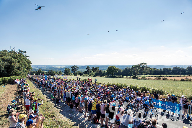 Peloton during the first passage up the Mûr de Bretagne. <br /> <br /> Stage 6: Brest > Mûr de Bretagne / Guerlédan (181km)<br /> <br /> 105th Tour de France 2018<br /> ©kramon