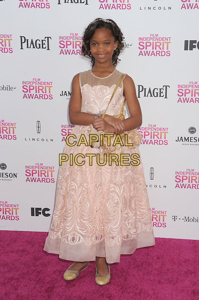 Quvenzhane Wallis.2013 Film Independent Spirit Awards - Arrivals Held At Santa Monica Beach, Santa Monica, California, USA,.23rd February 2013..indy indie indies indys full length pink dress dog bag purse .CAP/ROT/TM.©Tony Michaels/Roth Stock/Capital Pictures