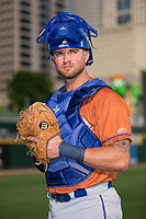 Durham Bulls catcher Mike Marjama (3) poses for a photo prior to the game against the Charlotte Knights at BB&T BallPark on May 16, 2017 in Charlotte, North Carolina. (Brian Westerholt/Four Seam Images)